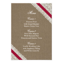 FAUX Burlap and pink lace menu cards