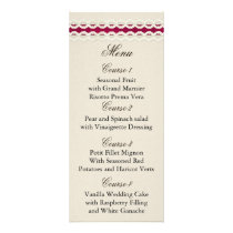 FAUX Burlap and pink lace wedding menu cards