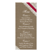 FAUX Burlap and pink lace wedding menu cards