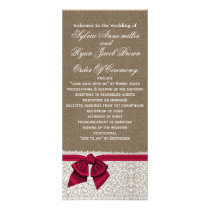 FAUX Burlap and pink lace Wedding program