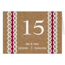 FAUX Burlap and pink lace wedding table numbers Card