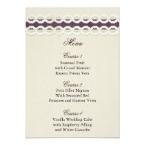 FAUX Burlap and purple lace wedding menu cards