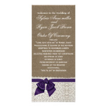FAUX Burlap and purple lace Wedding program