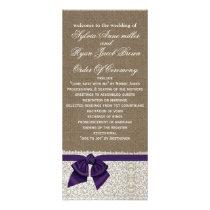 FAUX Burlap and purple lace Wedding program