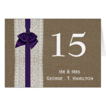 FAUX Burlap and purple lace wedding table numbers Card