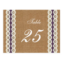 FAUX Burlap and purple lace wedding table numbers Postcard