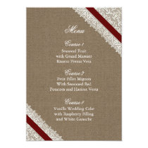 FAUX Burlap and red lace menu cards