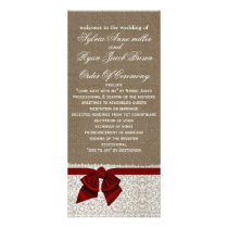 FAUX Burlap and red lace Wedding program