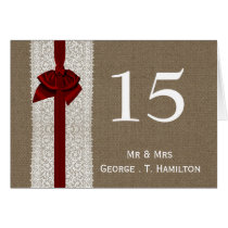 FAUX Burlap and red lace wedding table numbers Card