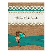 FAUX burlap and white lace, aqua save the Date Postcard