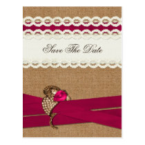 FAUX burlap and white lace, pink, save the Date Postcard