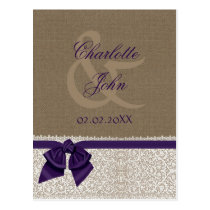 FAUX burlap and white lace, purple, save the Date Postcard