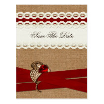 FAUX burlap and white lace, red, save the Date Postcard