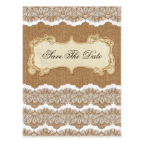 FAUX burlap and white lace save the Date Postcard