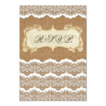 FAUX burlap and white lace wedding rsvp 3.5 x 5 Card