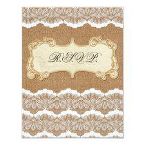 FAUX burlap and white lace wedding rsvp Card