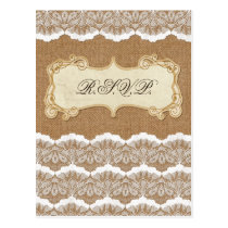 FAUX burlap and white lace wedding rsvp cards