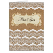 FAUX burlap and white lace wedding Thank You Card