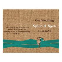 FAUX burlap ,aqua brooch bi fold Wedding program