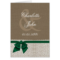 FAUX burlap,emerald green and white lace Thank You Card