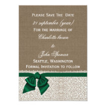 FAUX burlap emerald green save the dates Card