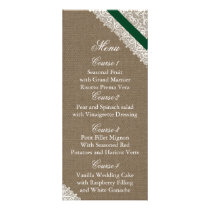 FAUX Burlap emerald green wedding menu cards