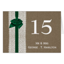 FAUX Burlap emerald green wedding table numbers Card