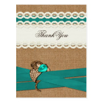 FAUX burlap, green and white lace Thank You Postcard