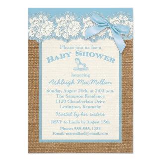 FAUX Burlap Ivory Lace, Blue Baby Shower Invite