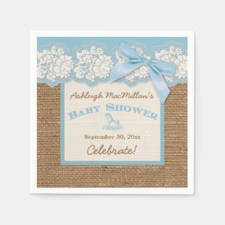FAUX Burlap Ivory Lace, Blue Baby Shower Napkins