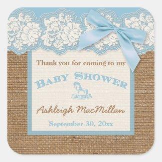 FAUX Burlap Ivory Lace, Blue Baby Shower Sticker