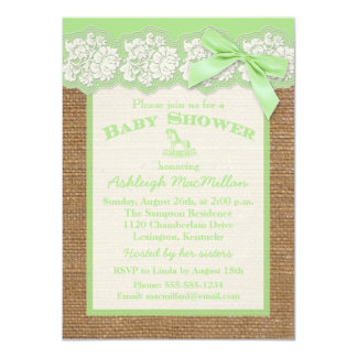 FAUX Burlap Ivory Lace, Green Baby Shower Invite