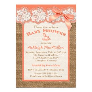 FAUX Burlap Ivory Lace Orange Baby Shower Invite