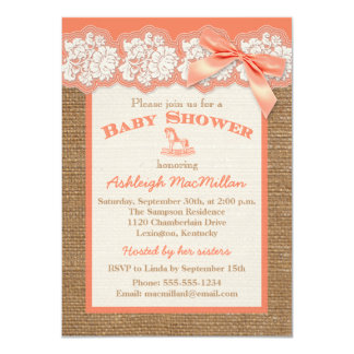FAUX Burlap Ivory Lace, Orange Baby Shower Invite