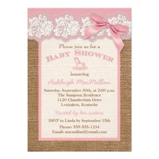 FAUX Burlap Ivory Lace, Pink Baby Shower Invite 2