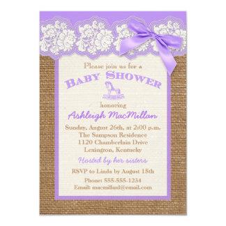 FAUX Burlap Ivory Lace, Purple Baby Shower Invite