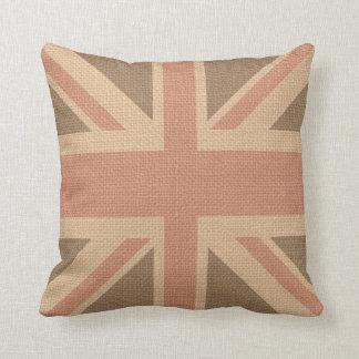 Faux Burlap Jute Linen Look UK Flag Throw Pillow