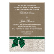 Rustic emerald green ribbon and lace burlap wedding invites by mgdezigns