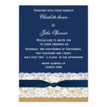 FAUX burlap, lace and navy blue ribbon invites