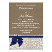 Rustic navy blue ribbon and lace burlap wedding invites by mgdezigns