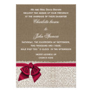 Rustic pink ribbon and lace burlap wedding invites by mgdezigns