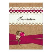 FAUX burlap, lace and pink sash wedding invites