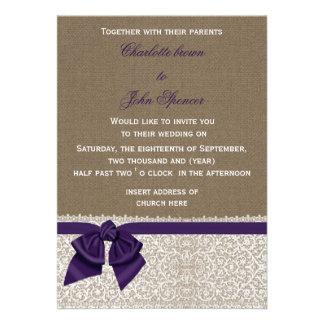 FAUX burlap, lace and purple ribbon invites