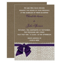 FAUX burlap, lace and purple ribbon invites