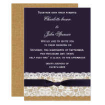 FAUX burlap, lace and purple wedding Card