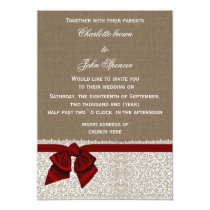 FAUX burlap, lace and red ribbon invites