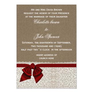 "FAUX burlap, lace and red ribbon invites 5"" X 7"" Invitation Card"