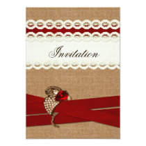 FAUX burlap, lace and red sash wedding invites