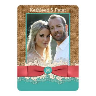 FAUX Burlap Lace Bow PHOTO Wedding Invite, Aqua 2 Card