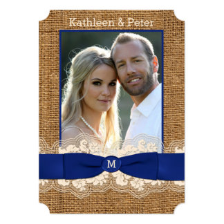 FAUX Burlap, Lace, Bow PHOTO Wedding Invite - Blue